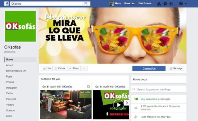 oksofa envia trafico por medio de fanpage